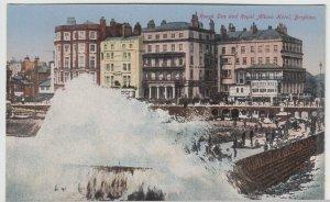 Sussex; Rough Sea & Royal Albion Hotel, Brighton PPC, Unused, c 1910's