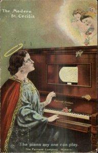 Modern St. Cecilia Piano Farrand Co Detroit London Advertising Postcard