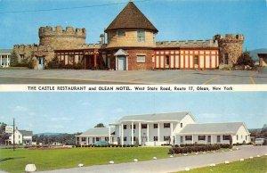CASTLE RESTAURANT & OLEAN MOTEL Olean, New York Roadside c1950s Vintage Postcard