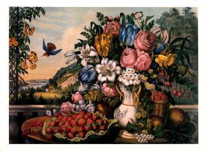 Currier & Ives (Repro) - Landscape, Fruit and Flowers -  Artist Signed: Franc...