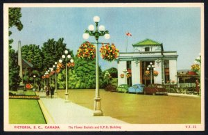 Canada British Columbia VICTORIA The Flower Baskets and C.P.R. Building