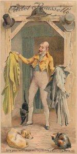 AS; MAURICE LELAIN, 1890s TC; Chocolat Du Planteur, Song on back, Man deciding o