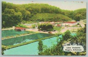 Rogers Arkansas~Lake Atalanta Park Birdseye~Boathouse~Roadside Motel~c1950 Linen