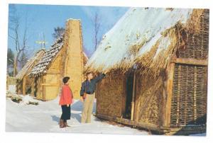 VA Jamestown Fort James Thatched Houses Postcard
