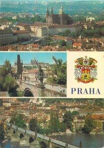 Postcard CZECH REPUBLIC Praha prague praga sign multi view church architecture