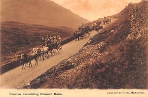 Scotland, UK Old Vintage Antique Post Card Coaches descending Dunmail Raise U...