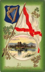 LP34   St Patrick's Day Postcard Irish Ireland Holiday Postcard Winsch Flag Harp