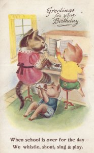 Piggy Pigs Cat Piano Music Lesson After School Old Postcard