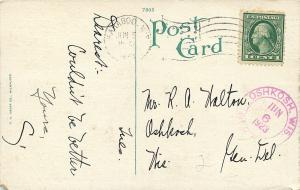 Baraboo Wisconsin~Post Office~Houses Behind~1923 Postcard