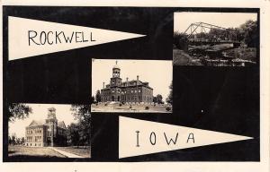 Rockwell Iowa~Banner Postcard~Beaverdam Creek Bridge~School~Academy RPPC 1915