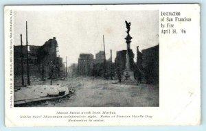 SAN FRANCISCO  Earthquake Damage MASON STREET Scene Poodle Dog 1906 Postcard