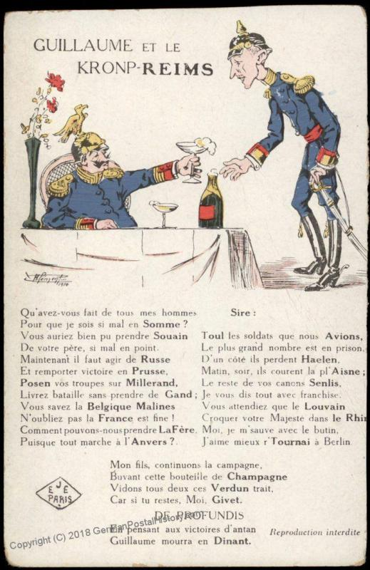 France WWI-era Political Anti-German Kaiser Wilhelm II Patriotic Postcard 75334