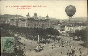Hot Air Balloons Barcelona Spain c1910 Postcard