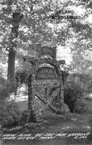AITKIN, MINNESOTA NAME PLATE AT AK-SAR-BEN GARDEN   RPPC REAL PHOTO POSTCARD