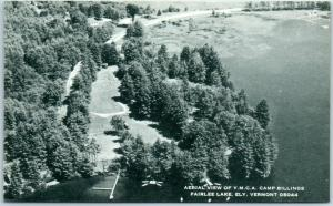 Ely, Vermont Postcard Aerial View of YMCA Camp Building, Fairlee Lake c1940s