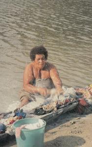 Fiji Soap Suds Washing Machine Comic 1970s Advertising Postcard