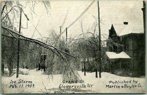 1909 Gloversville, New York ICE STORM Postcard Grand Street / Martin & Naylor Co