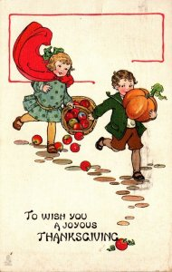 Tucks Valentine's Day Young Kids With Pumpkin and Basket Of Apples 1913