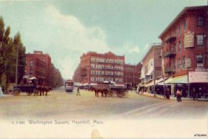 WASHINGTON SQUARE HAVERHILL, MA horse-drawn carriages street cars PRE-1907