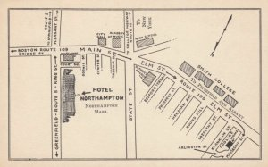 NORTHAMPTON, Massachusetts, 1930s; Hotel Northampton on a map of Northampton
