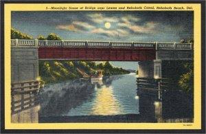 Rehoboth Beach DE Canal Bridge Full Moon 1940s Linen Postcard