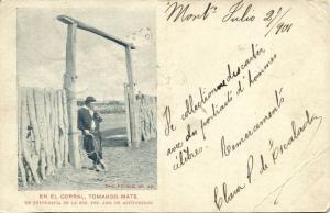 argentina, En el Corral, Tomando Mate (1901) Uruguayan Stamps