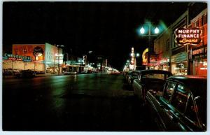 KANSAS CITY, KS   Night Neon  MINNESOTA AVENUE Street Scene  c1950s  Postcard