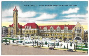 Union Station, St. Louis, Missouri, showing Plaza and Fountains, unused linen