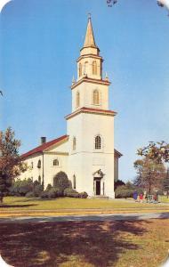 Fort Bragg North Carolina~Army Post Chapel~Family on Sidewalk~1950s Postcard