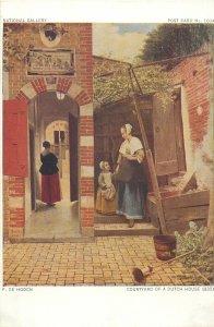 Artist signed painting Postcard Hooch Courtyard of a dutch house