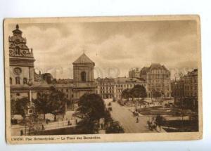 174160 UKRAINE LWOW Plac Bernardynski Vintage postcard