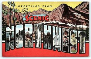 Postcard Large Letter The Scenic Northwest