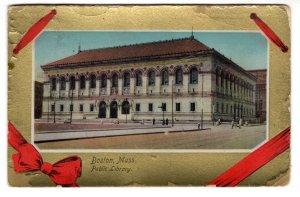 Public Library Boston, Massachusetts, Used 1912 Flag Cancel