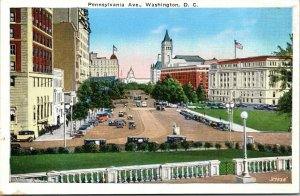 Vtg 1920s Pennsylvania Avenue Washington DC White Border Postcard