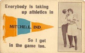 F73/ Mitchell Indiana Pennant Postcard 1913 Athletics Man Woman