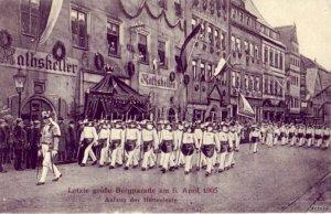 AUFZUG DER HUTTENLEUTE BERGPARADE AM 6 APRIL 1905