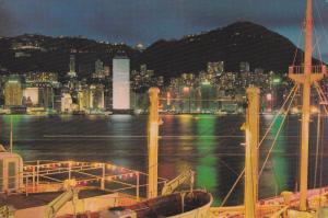 China , Hong Kong , 50-70s ; View from the Ocean Terminal at night