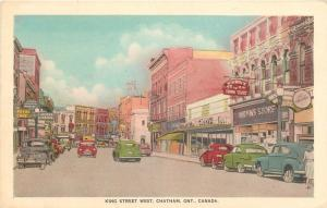 Chatham Ontario~King Street West~Royal Cafe~Mirwin's Variety Store~1940s Cars