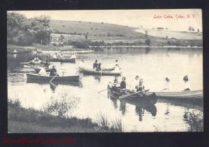 CUBA NEW YORK LAKE CUBA CANOE BOATING ANTIQUE VINTAGE POSTCARD NY