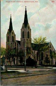 Sheboygan Wisconsin~Holy Name Catholic Church~Dirt Road~c1910 Postcard