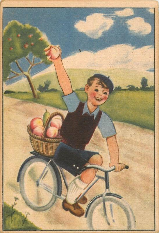 Old  health propaganda C Vitamin table on backside Hungary bicycle boy fruits