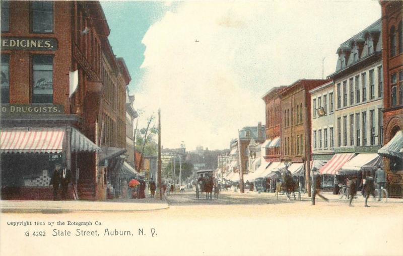 c1905 Rotograph Postcard; State Street Scene, Auburn NY Cayuga County Horsedrawn