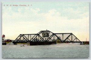 Charlotte New York~RWO Rome Watertown & Ogdensburg RR Swing Bridge~c1910 PC