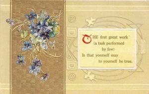 Violet Flowers & Poem~Great Work~To Yourself Be True~Gold Art Nouveau~Emboss