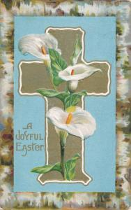 Joyful Easter Greetings - Lilies and Cross - pm 1909 - DB