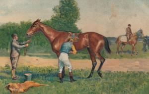 Jockey checking saddle before a race, 1900-10s
