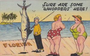 Fishing Humour Fat Women On Pier Sure Are Some Whoppers Here 1956 Curteich