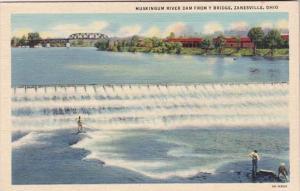 Ohio Zanesville Muskingum River Dam From Y Bridge Curteich