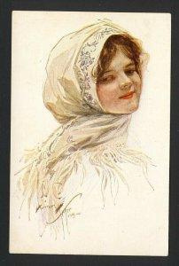 HARRISON FISHER SCARCE Russian No. 52836. (CHERRY RIPE) woman wears head scarf