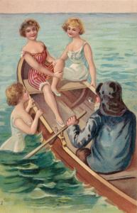 Bathing Beauties in and around a rowboat, 1900-10s